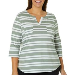 Coral Bay Plus Striped Split Neck Top