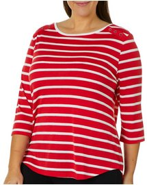 Coral Bay Plus Glitter Striped Button Shoulder Top