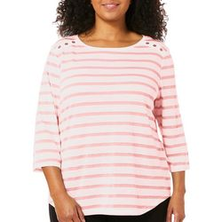 Coral Bay Plus Shimmer Striped Button Shoulder Top