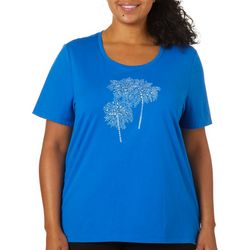 Coral Bay Plus Jeweled Embroidered Palm Tree Top