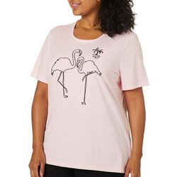 Coral Bay Plus Solid Embroidered Flamingo Top