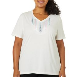Coral Bay Plus Solid Embroidered V-Neck Top