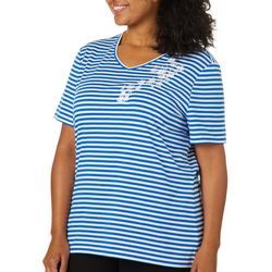 Coral Bay Plus Fleur Embroidered Striped V-Neck Top