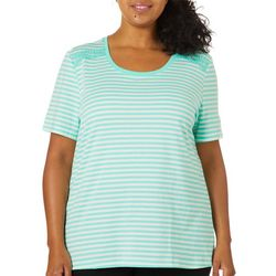 Coral Bay Plus Crochet Shoulder Striped Scoop Neck Top