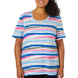 Coral Bay Plus Embellished Painted Stripe Top