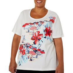 Coral Bay Plus Embellished Americana Beach Scene Top