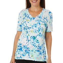 Coral Bay Plus Embellished Brush Strokes Short Sleeve Top
