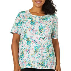 Coral Bay Plus Flamingo Garden Short Sleeve Top