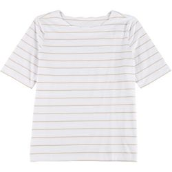Coral Bay Plus Scalloped Boat Neck Striped Top