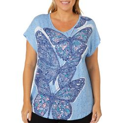 Coral Bay Plus Spring Butterfly Print Burnout Top