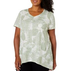 Coral Bay Plus Tropical Palm Print V-Neck Top