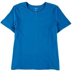 Plus Solid Short Sleeve Henley Top