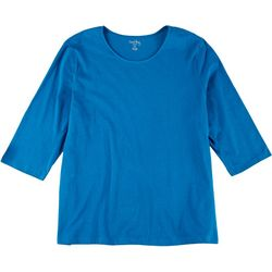 Coral Bay Womens Solid Round Neck Top