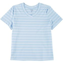 Coral Bay Plus Striped V-Neck T-Shirt