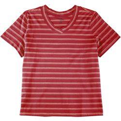 Coral Bay Plus Striped V-Neck T-Shirt