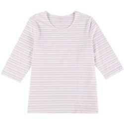 Coral Bay Plus Striped Round Neckline T-Shirt