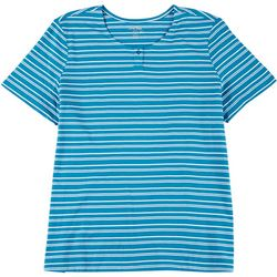 Coral Bay Plus Striped Button Short Sleeve Shirt