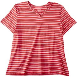 Coral Bay Plus Asymmetrical Striped Split Neck Top