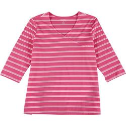 Coral Bay Plus Striped V-Neck Surplice Top
