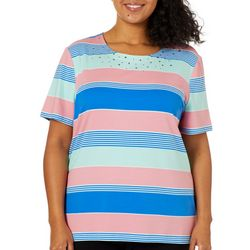Coral Bay Plus Jeweled Mixed Stripes Top