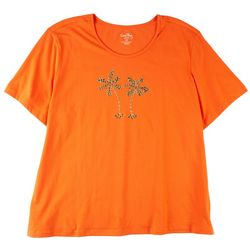 Coral Bay Womens Embellished Palm Tree Tshirt