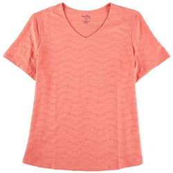 Coral Bay Plus Solid Textured V- Neck Short Sleeve Top