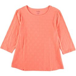 Coral Bay Plus All-Over Polka Dot 3/4 Sleeve