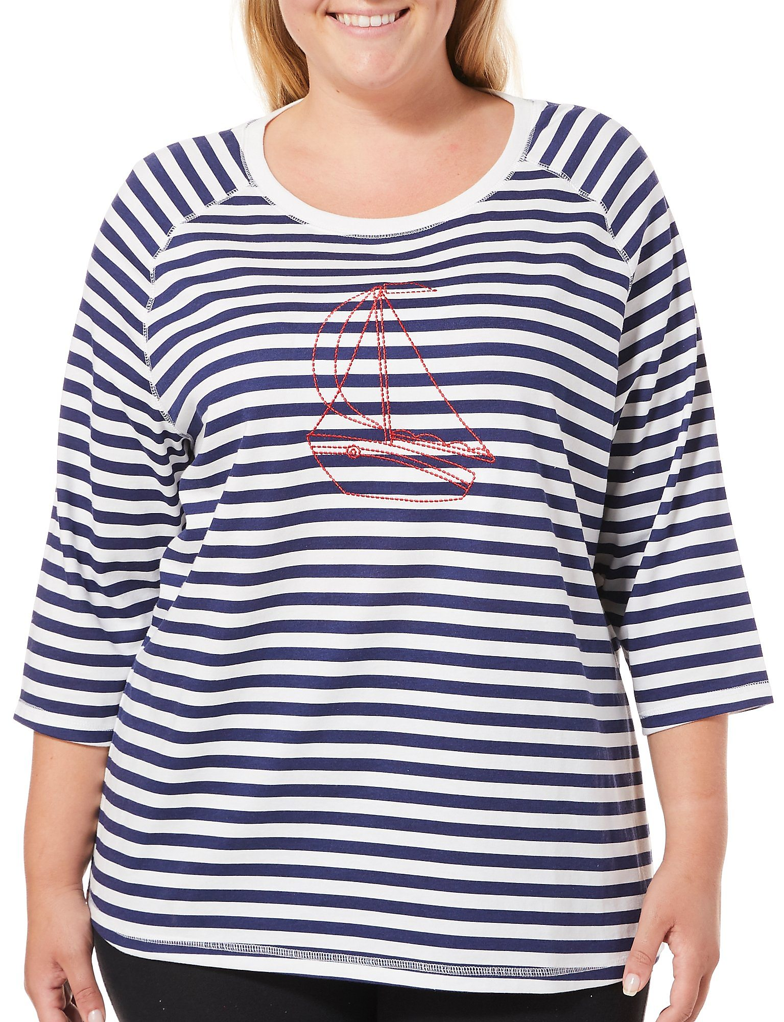 2907c713bbc Details about Coral Bay Plus Embroidered Sailboat Stripe Print Top