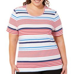 Coral Bay Plus Striped Scoop Neck Short Sleeve Top