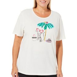 Coral Bay Plus Embellished Beach Cat Top