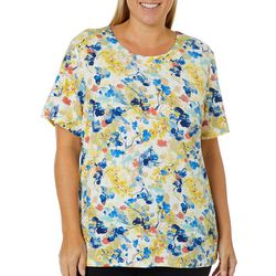 Coral Bay Plus Embellished Floral Print Top