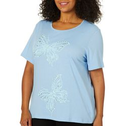 Coral Bay Plus Embellished Butterfly Screen Print Top