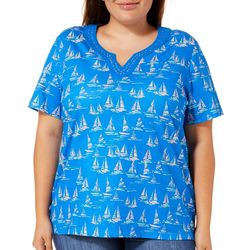 Coral Bay Plus Embellished Sailboat Print Top