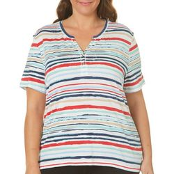 Coral Bay Plus Scratched Stripe Henley Top