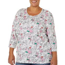 Coral Bay Plus Holiday Mixed Flamingo Print Top