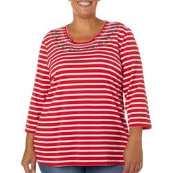 Coral Bay Plus Embellished Holiday Stripe Top