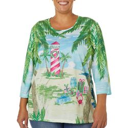 Coral Bay Plus Tropical Holiday Lighthouse Embellished Top