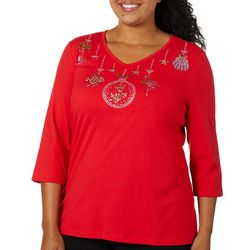 Coral Bay Plus Embellished Tropical Holiday Ornamanet Top
