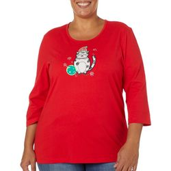 Coral Bay Plus Embellished Holiday Cat Top