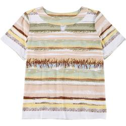 Plus Mixed Animal Stripe Keyhole Neckline Top
