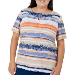Coral Bay Plus Mixed Animal Stripe Keyhole Neckline Top