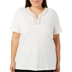 Coral Bay Plus Calypso Embroidered Neck Top
