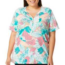 Coral Bay Plus Tropical Leaf Print Button Placket Top