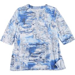 Coral Bay Plus Jacquard Boat Print Split Neck Textured Top