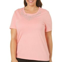 Coral Bay Plus Embellished Scoop Neck Top