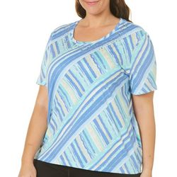 Coral Bay Plus Crossing Stripes Short Sleeve Top