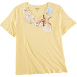 Coral Bay Plus Seashell V-Neck Short Sleeve Top