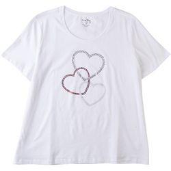 Coral Bay Plus Rhinestone Hearts Short Sleeve Shirt