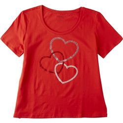 Plus Rhinestone Hearts Short Sleeve Shirt