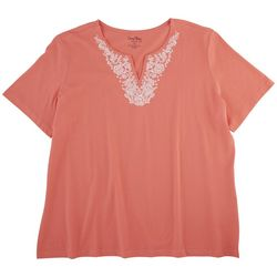 Coral Bay Plus Embroidered Neckline Top